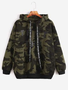 To find out about the Camo Letter Print Hooded Drop Shoulder Pockets Sweatshirt at SHEIN, part of our latest Sweatshirts ready to shop online today! Trendy Hoodies, Cool Hoodies, Camo Outfits, Cute Casual Outfits, Teen Fashion Outfits, Girl Outfits, Sweat Cool, Vetement Fashion, Hoodie Outfit