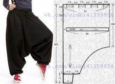 "Los pantalones calientes \""alladiny\"", el patrón a la dimensión 44\/46 (los rocíos.)\u000a#простыевыкройки #простыевещи #шитье #шаровары #алладины #афгани #саруэл #зуавы #выкройка"