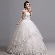 Ball Gown Strapless Floor-length Lace Wedding Dress