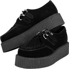 Black Suede Mondo Creeper (€72) ❤ liked on Polyvore featuring shoes, creepers, suede leather shoes, black suede shoes, black creeper shoes, suede shoes y black shoes