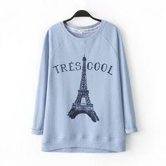 Blue Eiffel Tower sweatshirts for women Tres cool letter printed sweatshirt