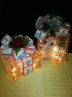 Gift wrapped lighted glass block snowman themed by amandayoung5, $32.00