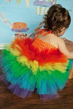 Rainbow Birthday, Rainbow Tutu, Rainbow Dress, Outift of Choice, Pageant OOC, Birthday Tutu, Carnival Tutu, Rainbow Party, Tutu Dress. $50.00, via Etsy.