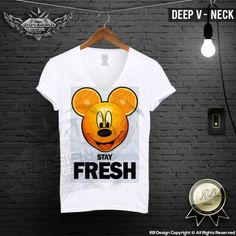 Stay Fresh Orange Mickey Men's T-shirt Funny Slogan Stretchy Cotton Top MD381