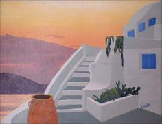 Grecia rosa - olio su tela fatta a mano - 1998 (43x56)