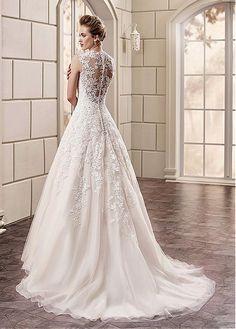 Elegant Organza V-Neck A-line Wedding Dresses With Lace Appliques #wintersale