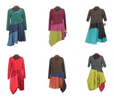 The Slant Six dresses, by Secret Lentil Clothing. Reconstructed, one of a kind. Could do this with upcycled t-shirts.