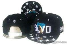 BLVD Supply Star Visor Snapback Hats Flat Hat Adjustable Caps Black White 29