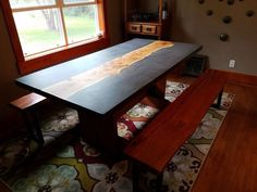 Picture of Concrete and Wood Slab Table