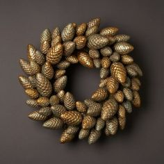 painted pinecone wreath Crafts 70 Unique and Unusual Christmas Holiday Wreaths {Saturday Inspiration & Ideas} - bystephanielynn Holiday Wreaths, Holiday Crafts, Christmas Decorations, Christmas Ornaments, Fall Crafts, Christmas Sled, Winter Wreaths, Christmas Ribbon, Spring Wreaths