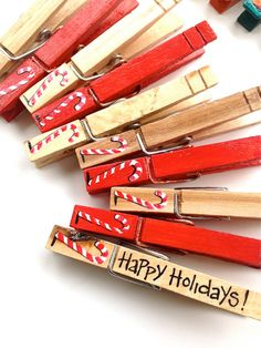 CANDY CANE CLOTHESPINS hand painted magnets by SugarAndPaint