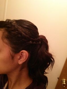 Ponytail with side braid.....
