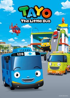 Tayo the Little Bus Air Helikopter Pemberani Birthday Diy, Birthday Cards, Bus Cartoon, Bus Cake, Tayo The Little Bus, Wheels On The Bus, Cakes For Boys, Holidays And Events, Films