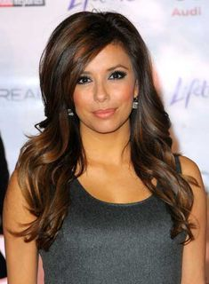 Eva Longoria Long, Layered, Curly, Brunette Hairstyle with Highlights