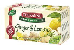 """Ginger & Lemon – mieszanka herbatek korzennych i owocowych z imbirem i cytryną. TEEKANNE World of Fruits """"Ginger & Lemon"""" łączy korzenny aromat imbiru ze świeżością cytryny. Ten aromatyczny napar herbaciany rozgrzewa od wewnątrz i oferuje znakomity, owocowy smak."""