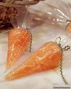 """Jellybean filled """"Carrots"""". Wouldn't this be really cool for Easter Snack Day at school?! Just too cute."""