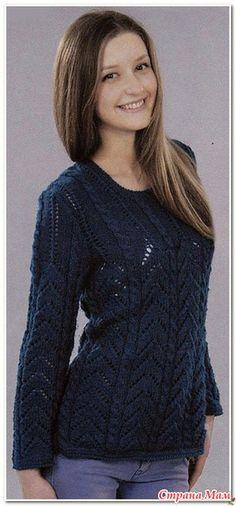 Пуловер с вертикальным рельефным узором. Спицы..