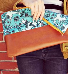 Cotton Leather Clutch