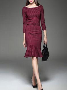 Red Cotton-blend Checkered/Plaid 3/4 Sleeve Midi Dress
