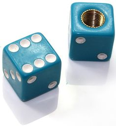 "Amazon.com : (2 Count) Cool and Custom ""Square Playing Dice with Easy Grip Design"" Tire Wheel Rim Air Valve Stem Dust Cap Seal Made of Hardened Rubber {Aqua Volkswagen Blue and White Colors - Hard Metal Internal Threads for Easy Application - Rust Proof - Fits For Most Cars, Trucks, SUV, RV, ATV, UTV, Motorcycle, Bicycles} : Sports & Outdoors"