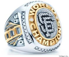 Tiffany & Co. has produced the World Series championship rings for the San Francisco Giants. While they won the MLB World Series in the baseballs stars are only now getting their rings. 2010 World Series, World Series Rings, First World Series, Sf Giants World Series, San Francisco Giants Baseball, Tiffany & Co., Tiffany Engagement, My Giants, Championship Rings