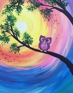Cute purple owl in tree with swirled sun. Easy acrylic painting ideas for beginners are quite easy to try and follow.
