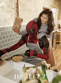 "Hollywood Star Ryan Reynolds As Deadpool Embraces HyunA for ""High Cut"" Triple H, Yoonmin, South Korean Girls, Korean Girl Groups, Hyuna Photoshoot, Deadpool, Hyuna Kim, Moorim School, E Dawn"