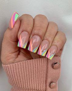 Rainbow Nail Salon, Rainbow Nails, Shellac Nails, Pink Nails, Nail Nail, Nail Polish, Cute Nail Designs, Acrylic Nail Designs, French Tip Gel Nails