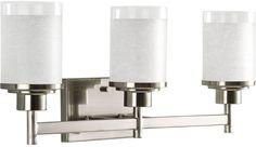 Alexa 3-Light Transitional Brushed Nickel Bell Bathroom Wall Mount Vanity Light #ProgressLighting #Transitional