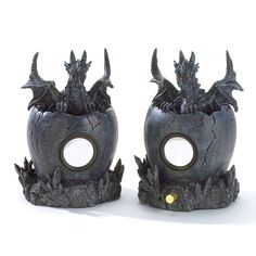 Your favorite tunes take on a legendary sound when broadcast from these totally rockin' double-duty decorations! Sure to be the envy of everyone, this pair of imposing dragon figurines has a special s
