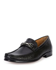 Morian Perforated-Side Leather Buckle Loafer, Black - Bally