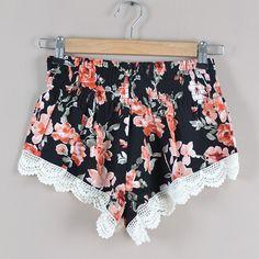 Fashion Floral Print Lace Spliced Elastic Waist Shorts [gyxh0703] on Luulla