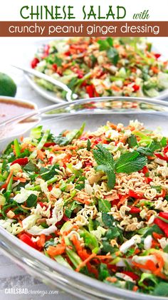 Chinese Salad w/crunchy peanut ginger dressing. A texture lover's dream with a delicious dressing packed with peanuts,ginger, garlic, honey, lime and sriracha. Crunchy Asian Salad, Salada Light, Chinese Salad, Asian Recipes, Healthy Recipes, Carlsbad Cravings, Summer Salads, Soup And Salad, Guacamole
