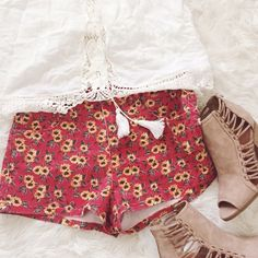 """Cute Red Sunflower Shorts These shorts have a cute sunflower pattern on a red Jean fabric, they are cute for Spring & Summer{actual color of item may vary slightly from pics}  *measurements taken flat*  *waist:16"""" *hips:19.5"""" *length:11.5""""  *material/care:71%cotton 27%polyester2%spandex•machine wash  *fit:medium  *condition:good no rips/stains   20% off bundles of 3/more items No Trades  NO HOLDS No transactions outside of Poshmark  No lowball offers Forever 21 Shorts Jean Shorts"""