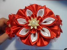 Красный ободок для волос Канзаши / kanzashi flowers tutorial