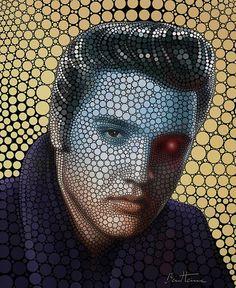 """Elvis Presley"" - Ben Heine {contemporary figurative artist male head celebrity cyborg eye digital circlets portrait illustration #noveltechnique}"