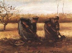 Two peasant women digging potatoes by @artistvangogh #realism