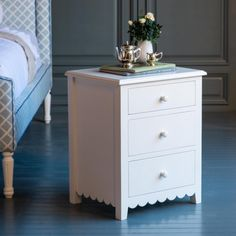 Alice's Scalloped Night Stand by The Beautiful Bed Company Kids Bedroom Furniture, Cheap Furniture, Discount Furniture, Home Bedroom, Furniture Making, Home Furniture, Bedroom Decor, Furniture Market, Kitchen Furniture