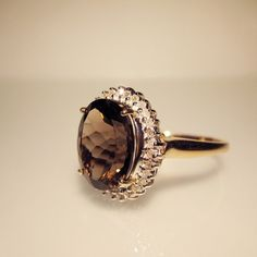 SALE 15% OFF Large oval smoky Quartz and Diamonds in 10k gold ring non-traditional engagement ring