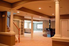 Traditional Entry - Arch Open White And Wood Banister Remodeling Costs, House Design, House, Home, Remodel, Basement Remodeling, Home Remodeling, Home Renovation, Renovations