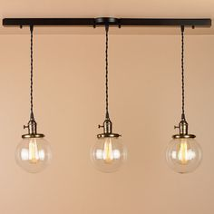 3 Light Chandelier - Linear Pendant Lights - with 6 inch Clear Glass Globes - Oil Rubbed Bronze Finish - Edison Light Bulbs