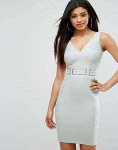 Lipsy Suedette Pencil Dress With V Neck