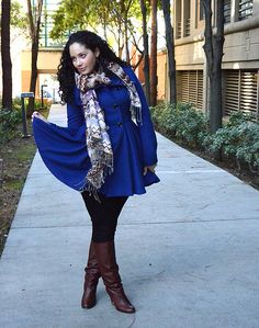 Love the color, scarf, and boots!