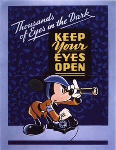 Your Eyes Open Walt Disney c. Disney Posters, Disney Cartoons, Retro Cartoons, Disney Go, Ww2 Propaganda Posters, Disney Illustration, Vintage Disney, World War Two, Vintage Posters