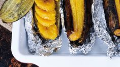 Plantains look like bananas, but they're much starchier, and therefore do a terrific job of filling in for potatoes (even if they aren't as crunchy as chips). They're often fried and served alongside Caribbean food, but this recipe from Elizabeth Gordon, author of Simply Allergy-Free, has you wrap them in aluminum foil and bake them, toss them with margarine and salt, and slice them for an irresistible side.