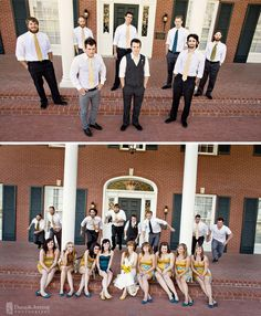 look at that bottom pic! with the groomsmen jumping over the girls! fun!