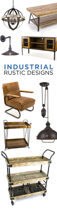 For the fans of Industrial Rustic Furniture & Décor | If you love the contrast of the wood and metal shop at bellacor.com