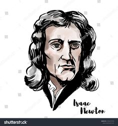 Isaac Newton watercolor vector portrait with ink contours. English mathematician, astronomer, theologian, author and physicist. Natural Philosophy, Framed Art, Wall Art, Isaac Newton, Free Canvas, Vector Portrait, Watercolor Portraits, Illustrators, Royalty Free Stock Photos