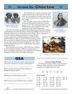 Worksheets: Native American Tribes: Choctaw