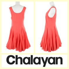 Hussein Chalayan $90 coral pink cotton voile tank dress sz.M #buynow www.tpopshop.nyc Tribeca Consignment #husseinchalayan